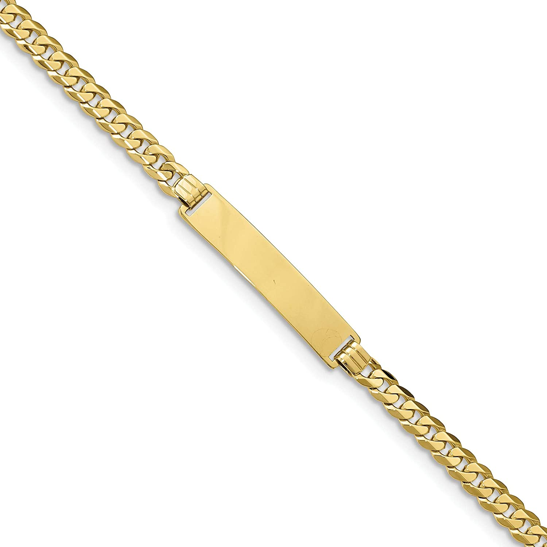 10k Flat Curb Link ID Bracelet, 10k Yellow Gold, Length: 7 inch
