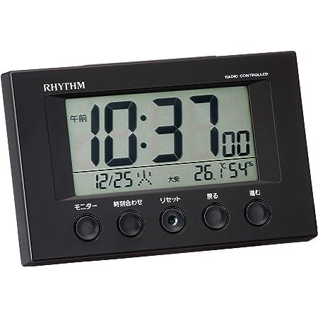 リズム(RHYTHM) 目覚まし時計 電波時計 温度計・湿度計付き フィットウェーブスマート 黒 7.7×12×5.4cm 8RZ166SR02