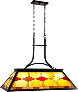CO-Z Pool Table Light, Billiard Hanging Lighting Fixture for Game Room 7-9 FeetTable, 3 Lights Kitchen Island Chandelier for Men's Cave, Antique Bronze Finish Billiards Light with Stained Glass Shade