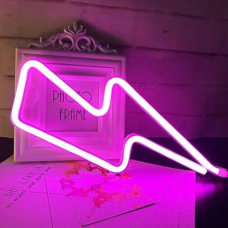 QiaoFei Neonlicht, LED Lightning Sign geformt Dekor Licht, Wand-Dekor für Weihnachten, Geburtstagsfeier, Kinderzimmer, Wohnzimmer, Hochzeit Party Decor (Rosa)