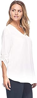 Women's Pull On Printed Rouched 3/4 Sleeve Blouse, Multiple Prints & Sizes