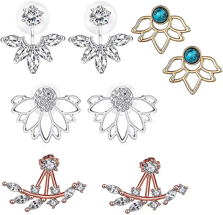Geenber 4 Pairs Lotus shopping Earrings Simple Flower Rhinestone years warranty