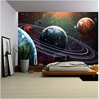 wall26 - Universe Scene with Planets, Stars and Galaxies in Outer Space Showing The Beauty of Space Exploration. - Removable Wall Mural | Self-Adhesive Large Wallpaper - 100x144 inches