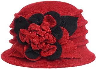 Women s Wool Dress Church Cloche Hat Bucket Winter Floral Hat c695bd828749