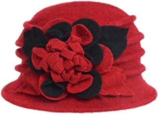 Women's Wool Dress Church Cloche Hat Bucket Winter Floral Hat