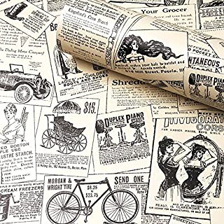 "Contact Paper Newspaper, H2MTOOL Removable Peel and Stick Wallpaper (17.7"" x 78.7"", Newspaper)"