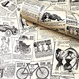 "Newspaper Wallpaper Self Adhesive, H2MTOOL Removable Peel and Stick Wallpaper Vintage (17.7"" x 78.7"", Newspaper)"