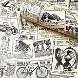 "Papel de contacto para periódico, H2MTOOL extraíble Peel and Stick Papel pintado, Vintage, 17.7"" x 78.7"", newspaper"