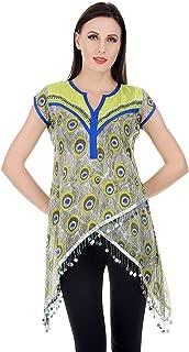 Devaleena Creations Peacock Feather Print with Beaded Accessorised Hemming Criss Cross Style Kurta For Girls