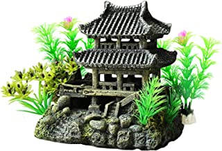 DOHAOOE Aquarium Decorations Classical Temple Asian Castle Thematic Safe Resin Ornaments with Plastic Plants Small Fish Ho...