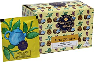 Karma Kettle No Added Sugar or Artificial Flavours, Natural Detox Pina Colada Tea, Black Tea with Pineapple, Coconut and Passion Fruit (20 Silken Pyramid Teabag)