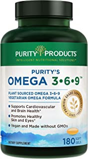 """Omega 3-6-9 Vegan + Vegetarian Omega Formula - """"5 in 1"""" Essential Fatty Acid Complex - Scientifically Formulated Plant-Based Omega 3 6 9 Essential Fatty Acids (EFA) - from Purity Products (180 caps)"""