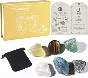 Faivykyd Gemini Gifts Crystals Box for Women, Zodiac Sign Healing Stones Pack,Birthday Gifts Basket for Astrology Lovers,Astrology Crystal Décor Gift for BFF Women,Constellations Healing Crystals Set