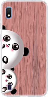 Mylne Wood Grain Case for Samsung Galaxy A10,Ultra Thin Soft Silicone Cover with Cute Panda Pattern Protective Phone Back Bumper,Pink