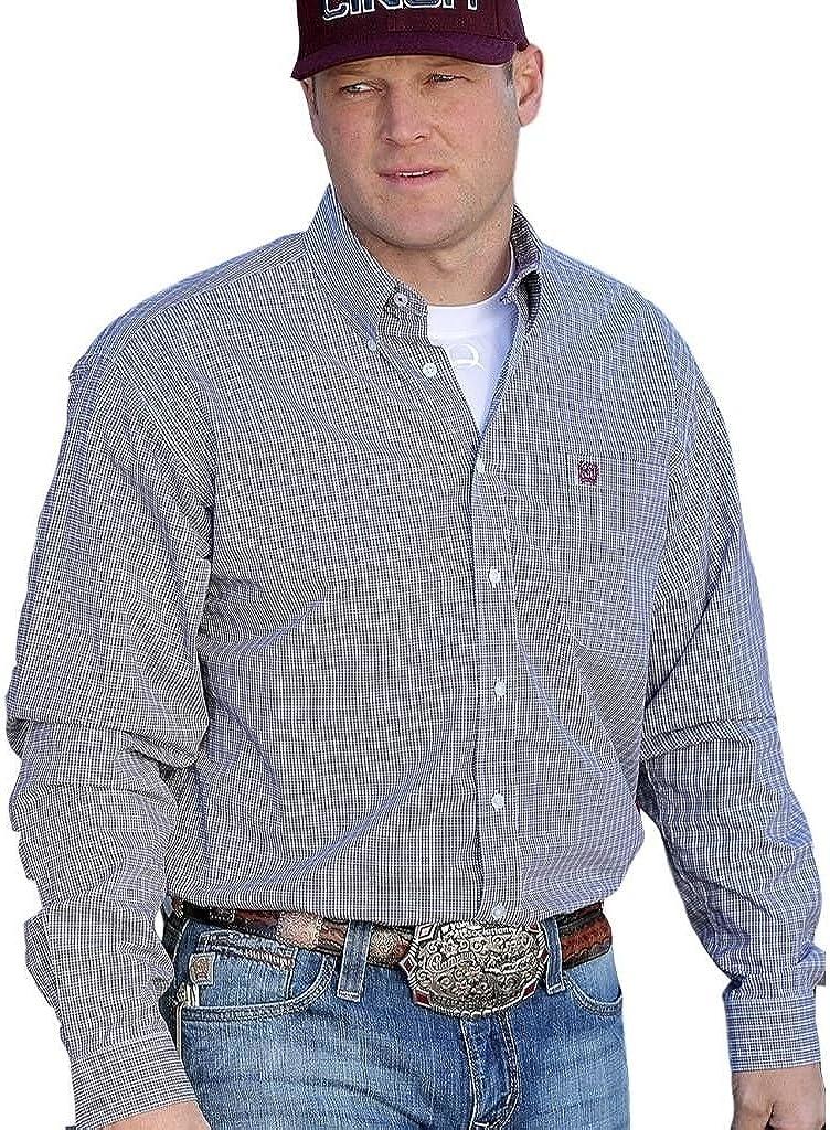 Cinch Men's Classic Fit Plaid Plain Weave Button Down Shirt White Medium
