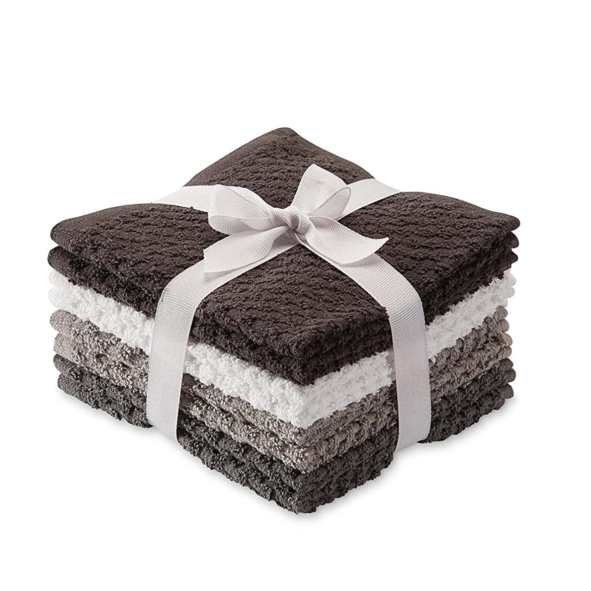 楽しむ特殊朝8パックポップコーンテクスチャテリーWash Cloths Ragsチャコールダークグレーグレーホワイト