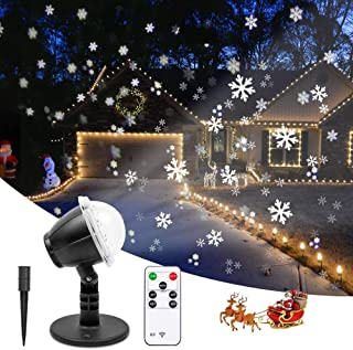 Christmas Projector Lights Outdoor LED Snowflake Projector Waterproof Snowfall Projection with Wireless Remote Snow Flurries Decorative Projector for Halloween Christmas Holiday Wedding Party