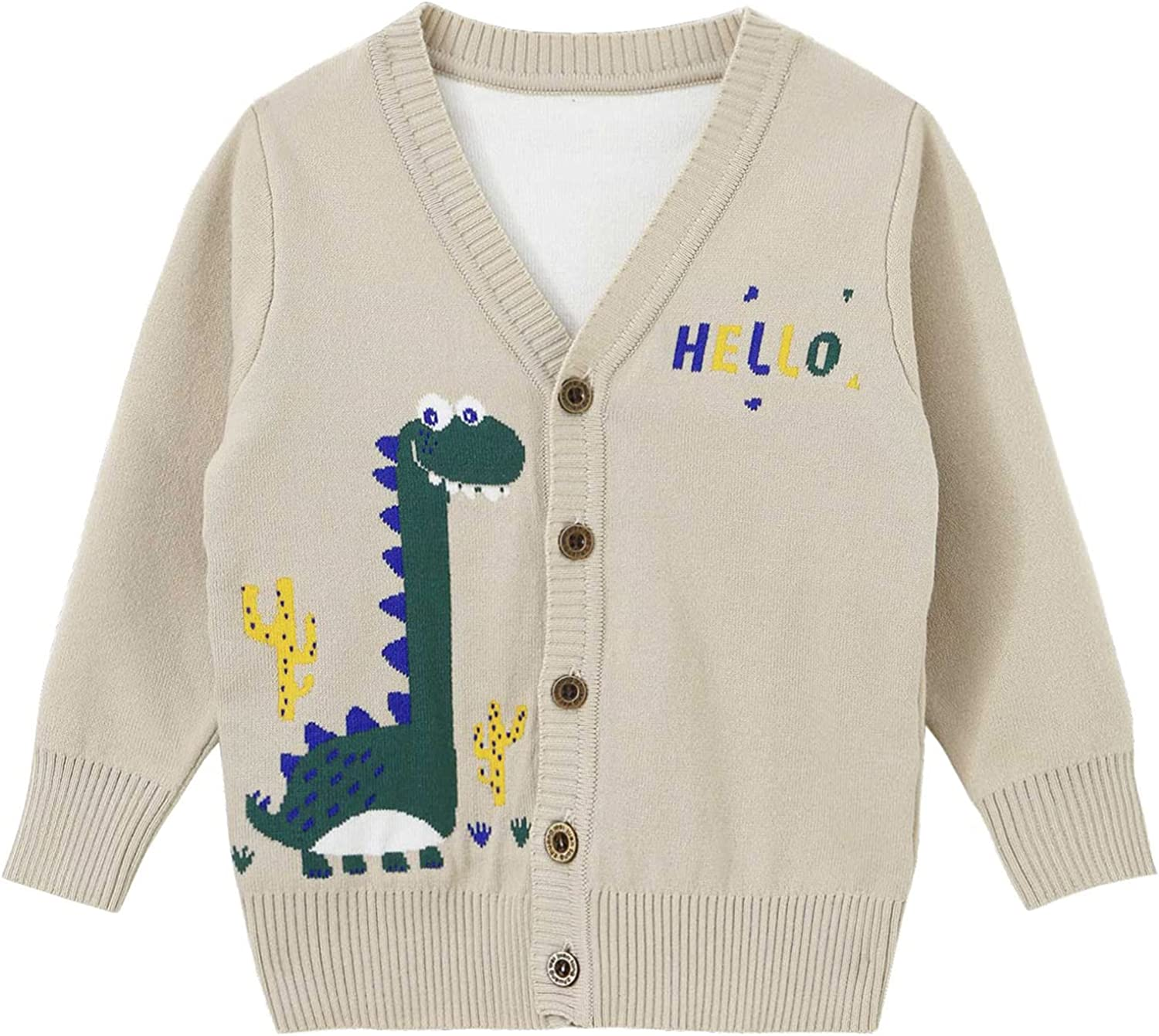 vastwit Toddler Kids Boys Button Down Knitted Sweaters Cartoon Dinosaur V-Neck Cardigans Coat Tops