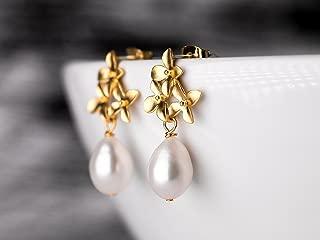 Lange Perlenohrringe aus 14k Gold Fill mit echten Barockperlen in Wei/ß