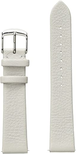 Michele - 18mm Thin Leather Strap Light Gray