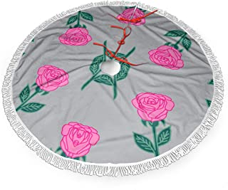 Dlskjda Ink Roses Fabric Pink and Grey Rose Fabric Andrea Christmas Tree Skirt 30