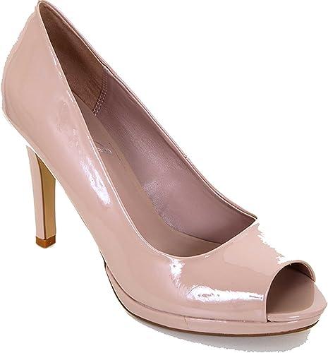 Zafiro mujer negro Nude Charol Peep Toe zapatos Tacones Informal Elegante mujer