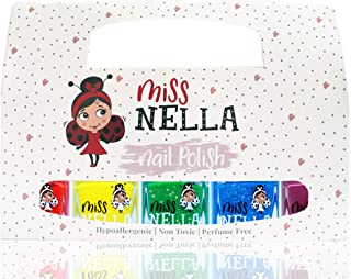 Miss Nella RAINBOW, Nail Polish Set-Easy Pell off And Water Based Formula, 5 Colors of Nail Glitter set- Strawberry Cream-...