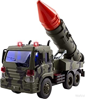 WolVol Friction Powered Launcher Fighter Military Truck - Pull Back Missile Carrier Army Vehicle w/ Lights & Sounds - Pretend War & Action Toy for Kids