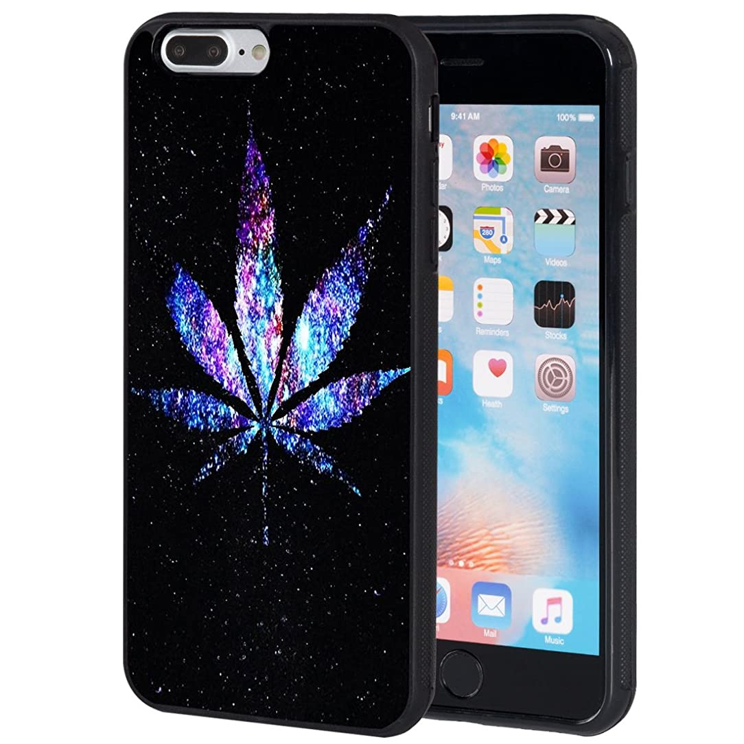iPhone 7 Plus Case,iPhone 8 Plus Case,AIRWEE Slim Anti-Scratch Shockproof Silicone TPU Back Protective Cover Case for Apple iPhone 8 Plus/iPhone 7 Plus 5.5 Inch,Galaxy Weed Leaf wfb96224107