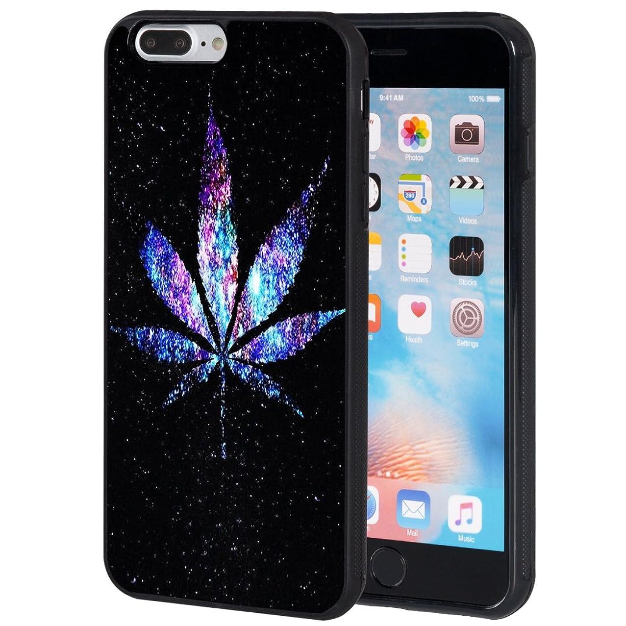 iPhone 7 Plus Case,iPhone 8 Plus Case,AIRWEE Slim Anti-Scratch Shockproof Silicone TPU Back Protective Cover Case for Apple iPhone 8 Plus/iPhone 7 Plus 5.5 Inch,Galaxy Weed Leaf