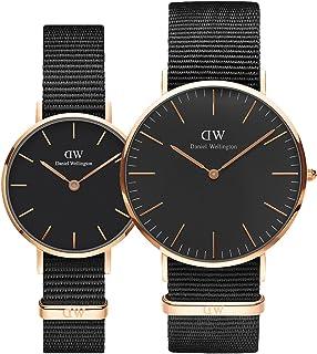 Daniel Wellington Unisex's Cornwall Couple Watch Combo, Black/Rose Gold