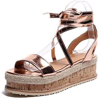 f4b8ce17ed3586 YEZIJIN Ladies Women Roman Shoes Platform Woven Thick-Bottom Waterproof  Wedge Sandals 2019 New Girls
