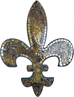 Lulu Decor, Fleur De Lis Decor, Wall Decorative Plaque, Perfect for Housewarming Gift (Amber Mosaic)