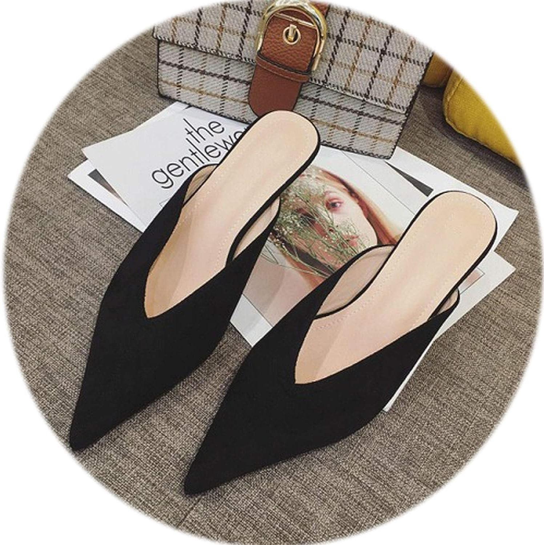 Gooding life Kitten Heel Mules Women Sexy Pointed Toe High Heel Women Pumps Faux Suede Elegant Ladies shoes