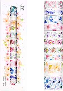 Molshine Set of 10 Washi Masking Tape, Sticky Paper Tape for DIY, Decorative Craft, Gift Wrapping, Scrapbook - Unheard of Flower Name Collection(0.6in x 3.3yd x 8rolls,1.2in x 3.3yd x 2rolls)
