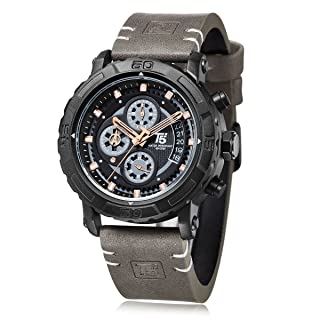 T5 H3590G-B Leather Round Analog Watch for Men - Grey