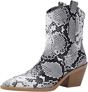 Melady Lydee Women Classic Western Boots Block High Heels Ankle Boots