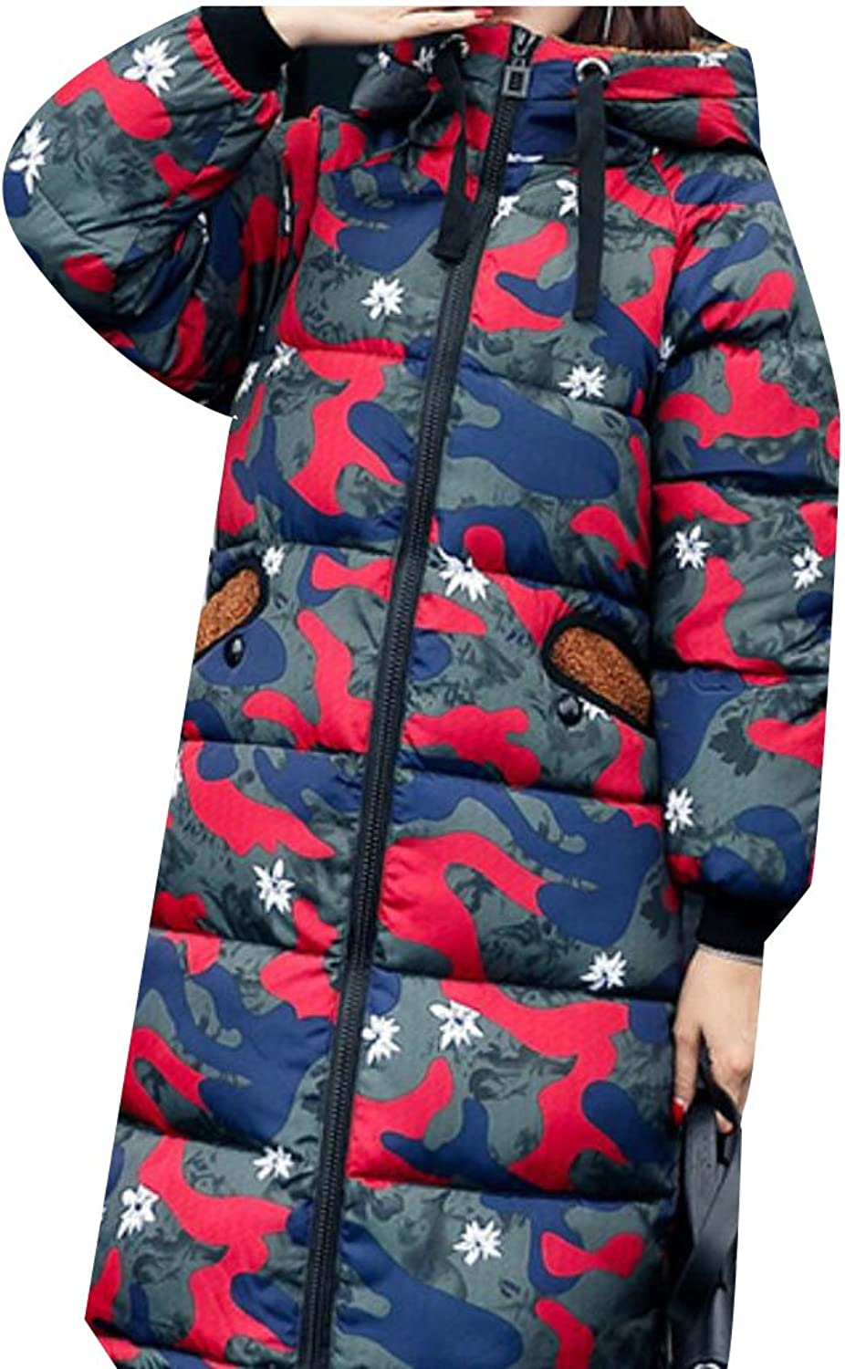 Gocgt Women's Winter Camo Print Hooded Down Outwear Jacket