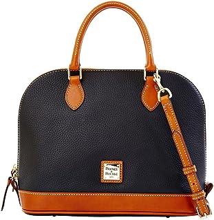 Zip Zip Satchel Pebble Grain Leather Shoulder Bag Purse Handbag