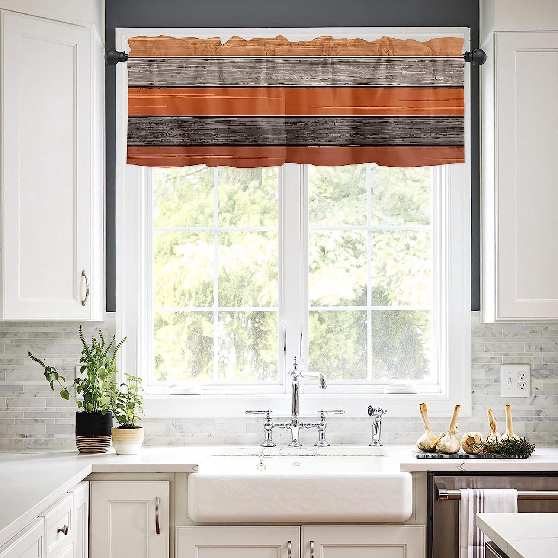 5 ☆ popular Rod Pocket Window Valances Curtains Farm Bar low-pricing Vintage for Kitchen
