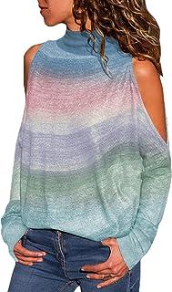 YOINS Femme Top Color Block Tee-Shirt Automne Col V Blouse Sport Lâche Casual Haut Blanc Manches Longues Loose Sweatshirt