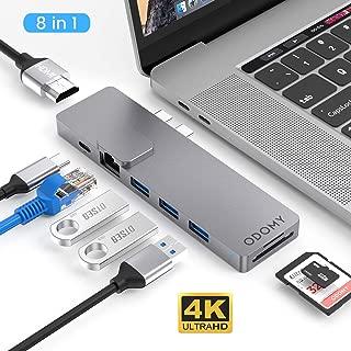 """ODOMY USB Type C ハブ 8in1 USB C ハブ macbook pro ハブ ドッキングステーション 4K HDMI高解像度 PD急速充電ポート USB3.0 ポート LANポート SD/MicroSDカードスロット Thunderbolt 3対応 Macbook Pro 2016/2017/2018 /2019 13""""/15""""対応"""