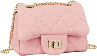 4b72720ea9de CMK Trendy Kids Quilted Pearl Embossed PU Leather Kids Purse for Little  Girls with Metal Chain