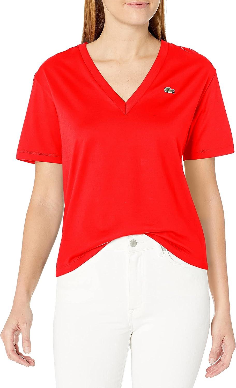 Lacoste Women's Short プレゼント Sleeve V-Neck Fit Boxy T-Shirt 引き出物
