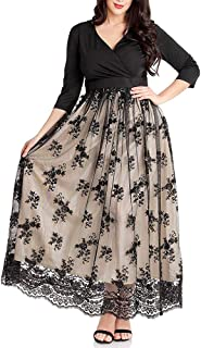 Women's Plus Size 3/4 Sleeves Evening Gown Party Long Maxi Dress