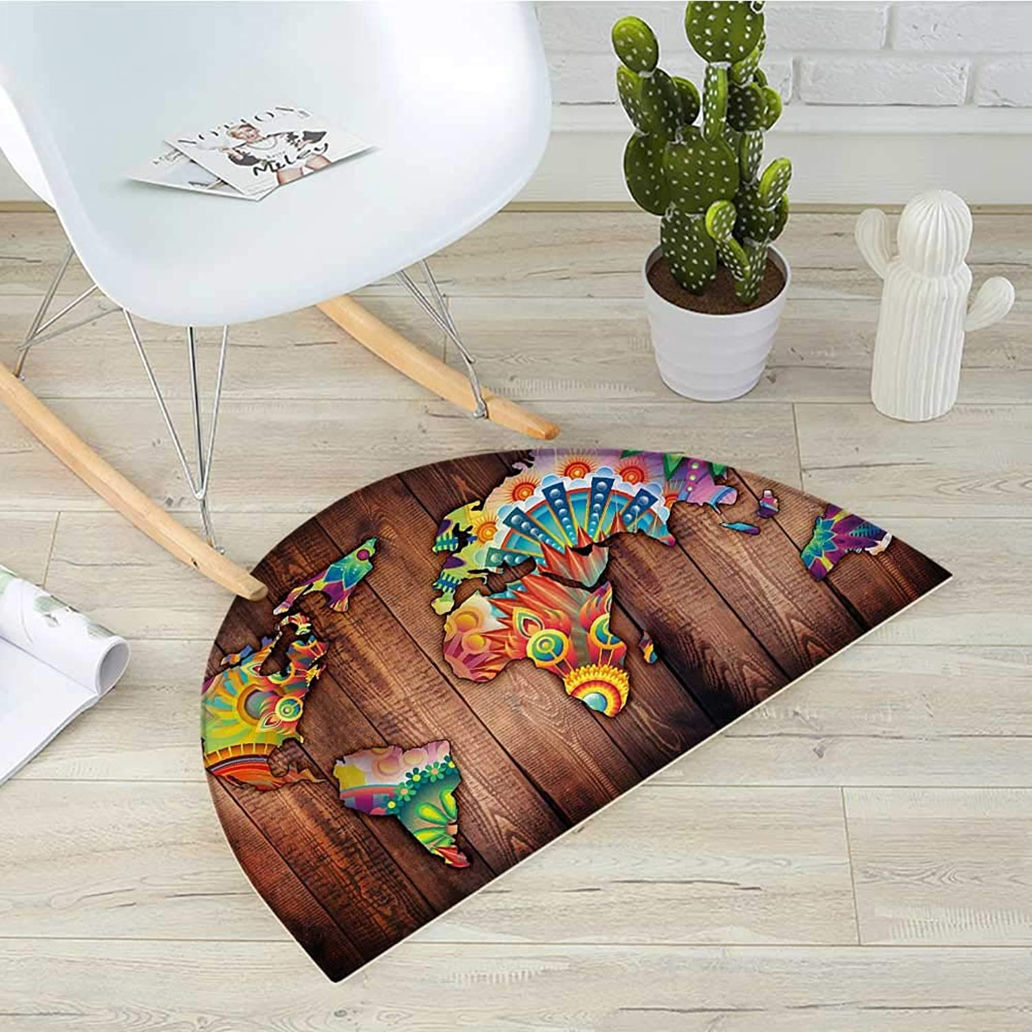 Floral World Map Semicircular CushionWorld Map on Wooden Rustic Planks Abstract Countries in Vibrant colors Entry Door Mat H 39.3  xD 59  Multicolor