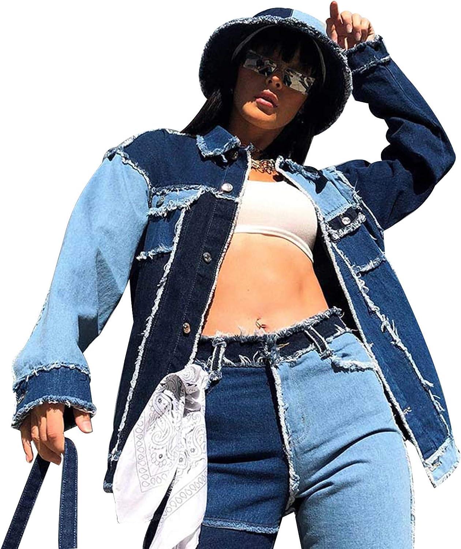 Women Patchwork Denim Jacket Splicing Color Coat Contrast Opposite Side Pocket Long Sleeve Button Vintage Jacket