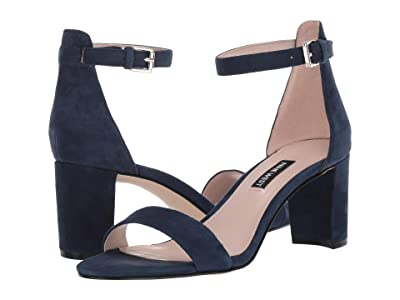 Nine West Pruce Block Heel Sandal (Navy) High Heels