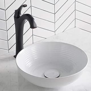 Kraus KCV-204GWH Ceramic Above counter Round Bathroom Sink, 13 x 13 x 4.38 inches, White