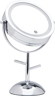 Mirrorvana 7-Inch LED Lighted Magnifying Makeup Mirror with Jewelry Hooks, Dual-Sided